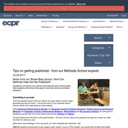 Tips on getting published - from our Methods School experts