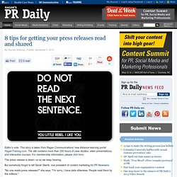8 tips for getting your press releases read and shared