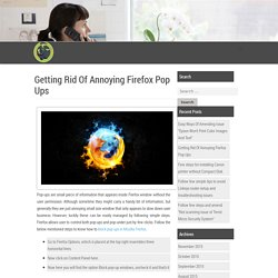 Getting Rid Of Annoying Firefox Pop Ups