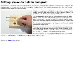 Getting screws to hold in end grain