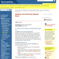 Getting Back Your Security Deposit - MassLegalHelp