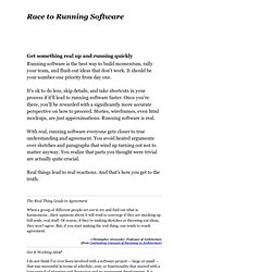 Race to Running Software