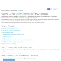 Getting Started with Azure SQL Database