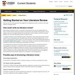 Getting Started on Your Literature Review