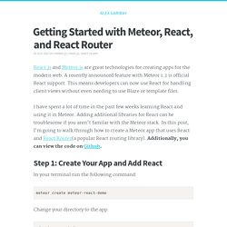 Getting Started with Meteor, React, and React Router