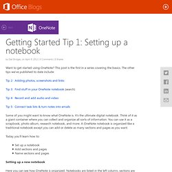 OneNote Blog - Getting Started Tip# 1: Setting up a notebook