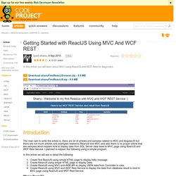 Getting Started with ReactJS Using MVC And WCF REST