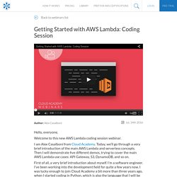 Getting Started with AWS Lambda: Coding Session