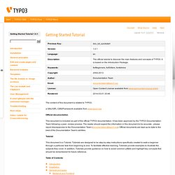 TYPO3 - the Enterprise Open Source CMS: Documentation: Getting Started tutorial(Table of Contents)