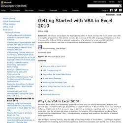 Getting Started with VBA in Excel 2010