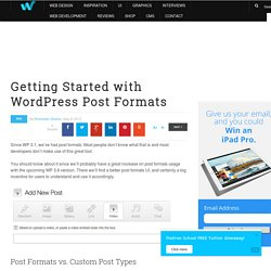 Getting Started with WordPress Post Formats