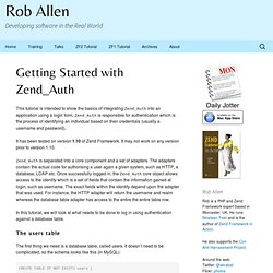 Tutorial: Getting Started with Zend_Auth