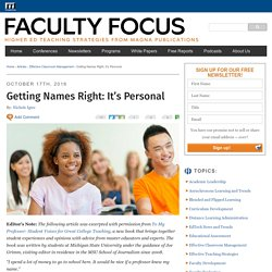 Getting Students' Names Right: It's Personal