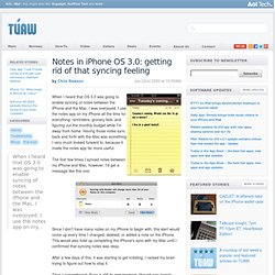 How to get rid of that syncing feeling with Notes in iPhone OS 3