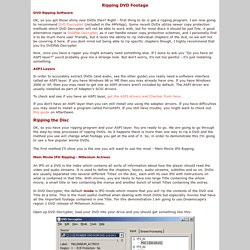 Getting Your Video - Ripping DVD Footage