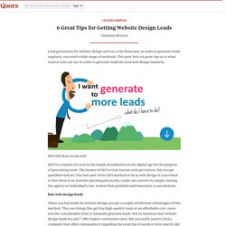 6 Great Tips for Getting Website Design Leads - Leadscampus - Quora
