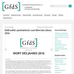 """Wort des Jahres 2016: """"postfaktisch"""""""