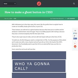 How to make a ghost button in CSS3