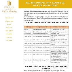 Giá bán Imperia Sky Garden và tiến độ thanh toán