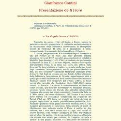 Gianfranco Contini Presentazione de Il Fiore