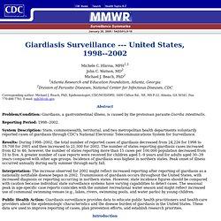 CDC MMWR 28/01/05 Giardiasis Surveillance