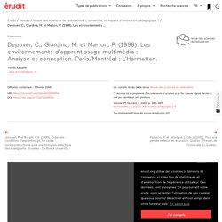 Depover, C., Giardina, M. et Marton, P. (1998). L… – Revue des sciences de l'éducation