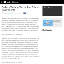Factors To Help You In Real Estate Investments