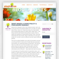 Giggletree - What makes a good Policy & Procedure Manual?