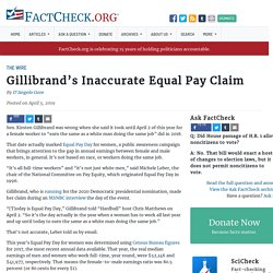 Gillibrand's Inaccurate Equal Pay Claim
