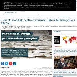 Giornata mondiale contro corruzione, Italia al 61esimo posto su 168 Paesi