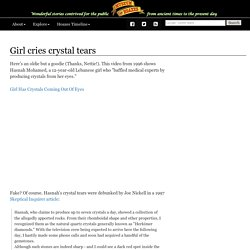 Girl cries crystal tears