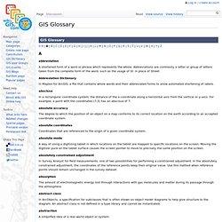 GIS Glossary - GIS Wiki