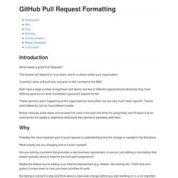 GitHub Pull Request Formatting