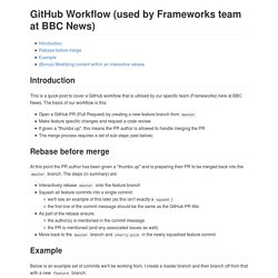GitHub Workflow (used by Frameworks team at BBC News)