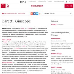 Barétti, Giuseppe nell'Enciclopedia Treccani