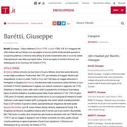 Barétti, Giuseppe nell'Enciclopedia Treccani