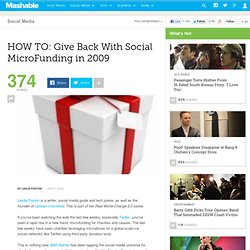 HOW TO: Give Back With Social MicroFunding in 2009