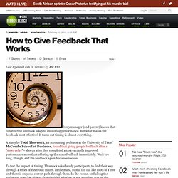 How to Give Feedback That Works | BNET