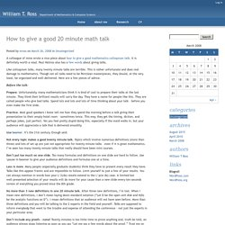 How to give a good 20 minute math talk - William T. Ross