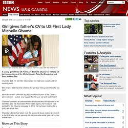 Girl gives father's CV to US First Lady Michelle Obama