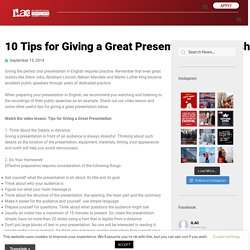 10 Tips for Giving a Great Presentation in English – ILAC