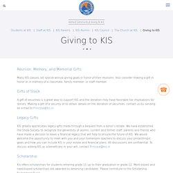 Giving to KIS
