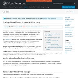 Giving WordPress Its Own Directory