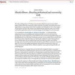 Glenda Gibson - Blending professional and community work