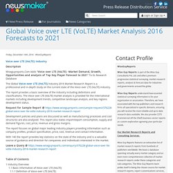 Global Voice over LTE (VoLTE) Market Analysis 2016 Forecasts to 2021