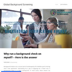 Why run a background check on myself? – Here is the answer