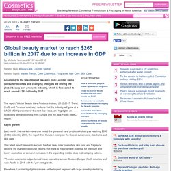 Global beauty market to reach $265 billion in 2017 due to an increase in GDP