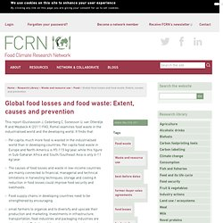 Global food losses and food waste: Extent, causes and prevention