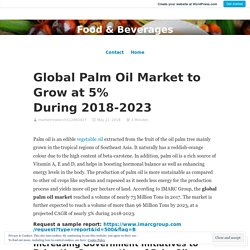 Global Palm Oil Market to Grow at 5% During 2018-2023 – Food & Beverages