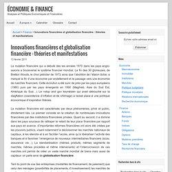 Innovations financières et globalisation financière : théories et manifestations